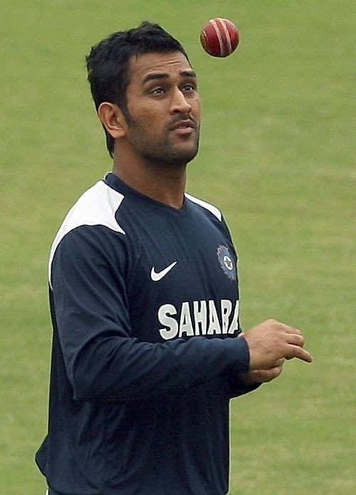 Dhoni at the practice session