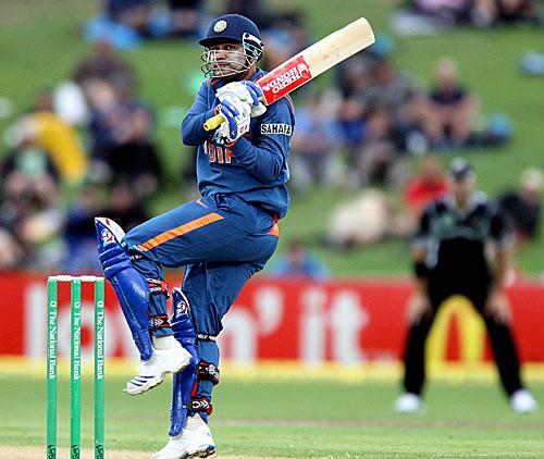 Sehwag executes a pull during his 56 ball 77 in the first game in Napier