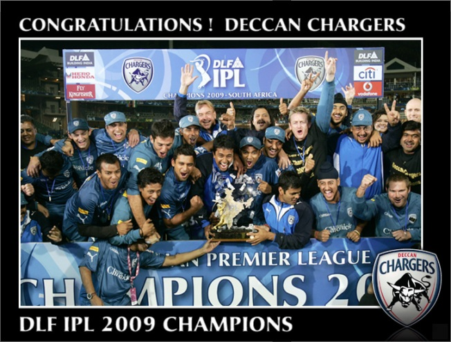 Deccan chargers with the IPL trophy