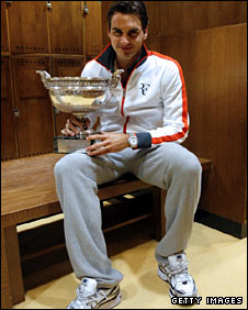 Federer with the French Open trophy after his brilliant win on Sunday