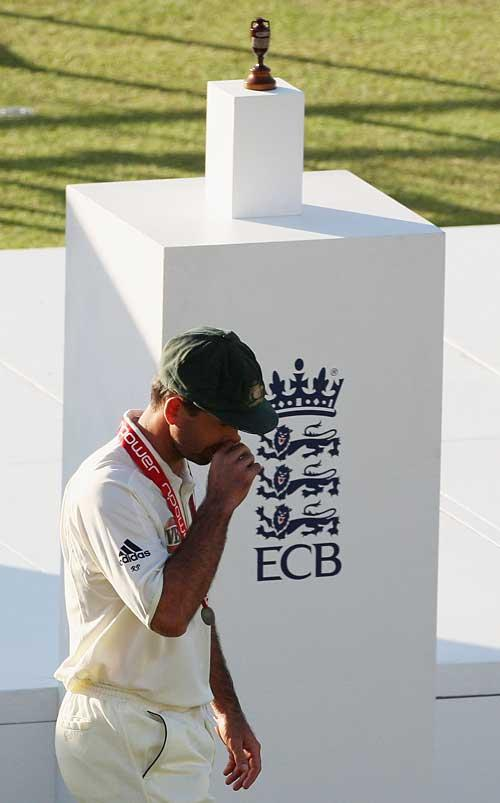 Disapointed Aussie captain after losing the Ashes for the second time in England
