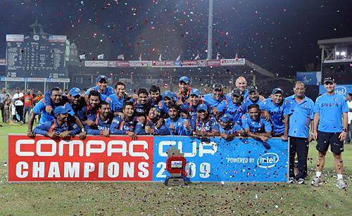 Victorious Indian team with the Compaq Cup
