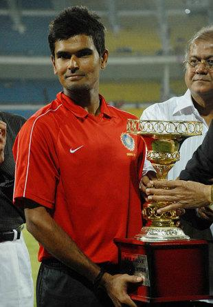 India Red captain badrinath with the challenger Trophy
