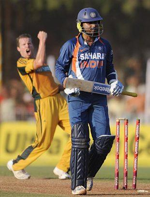 Bajji walks back after playing a blinder against the Aussies in the first ODI in Vadodara