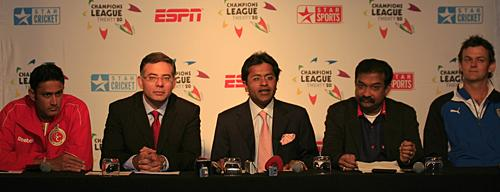 Adam Gilchrist and Anil Kumble in a press conference ahead of CL T20